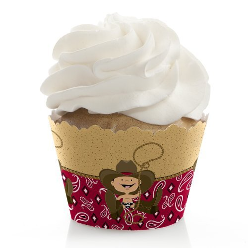 Little Cowboy - Western Baby Shower or Birthday Party Cupcake Wrappers - Set of 12