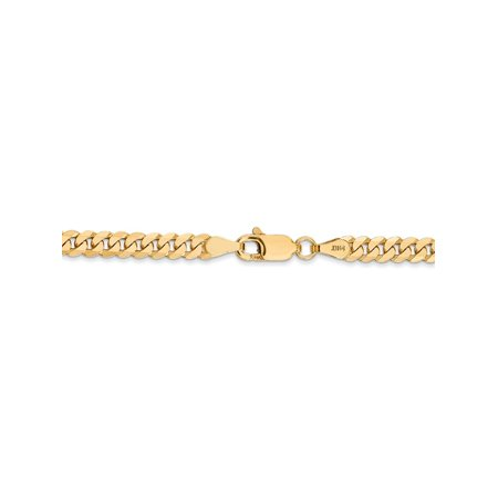 3.2 mm 14k Yellow Gold Flat Beveled Curb Chain Necklace - 18
