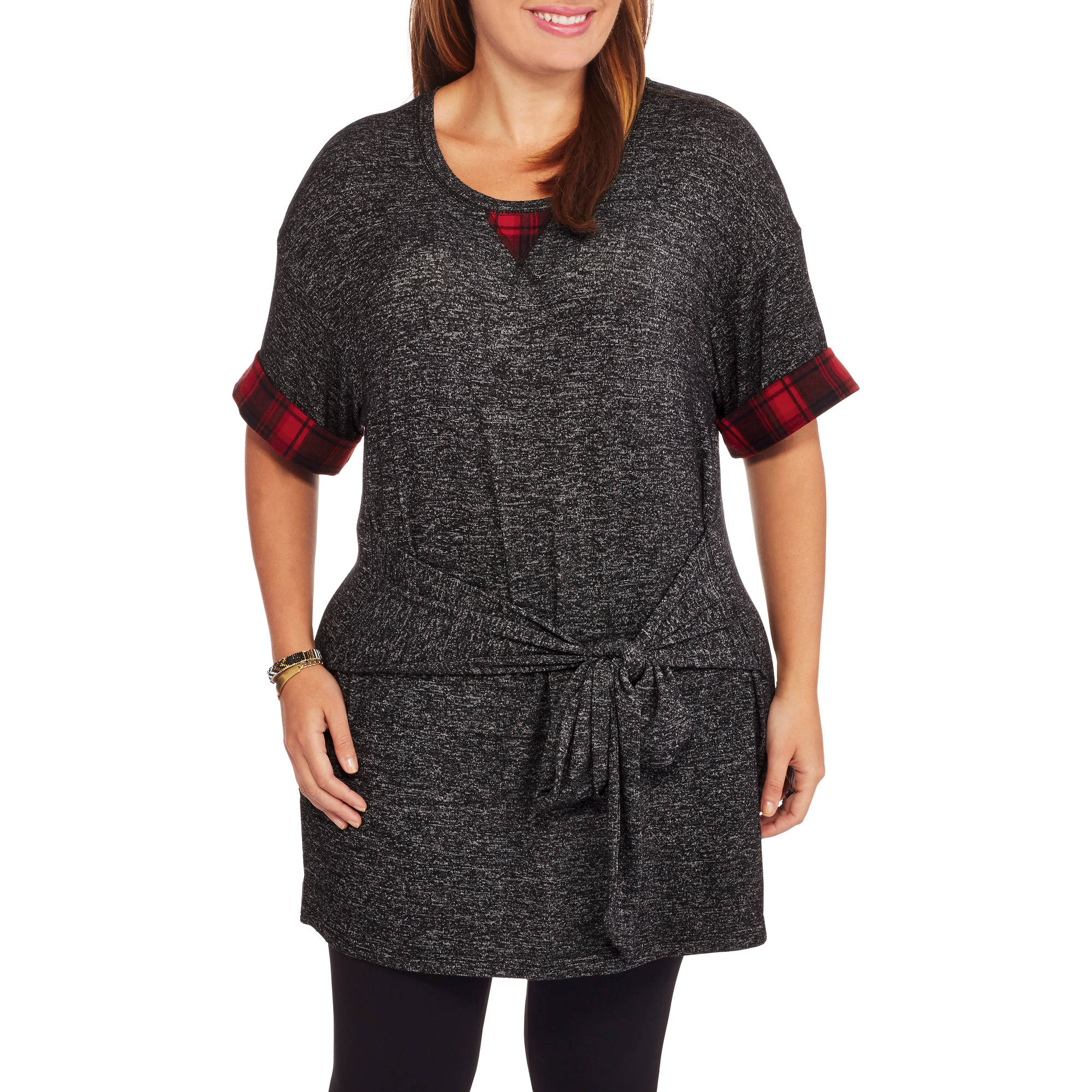 Loyal Threads Juniors' Plus Wrap Front Tunic with Plaid Trim