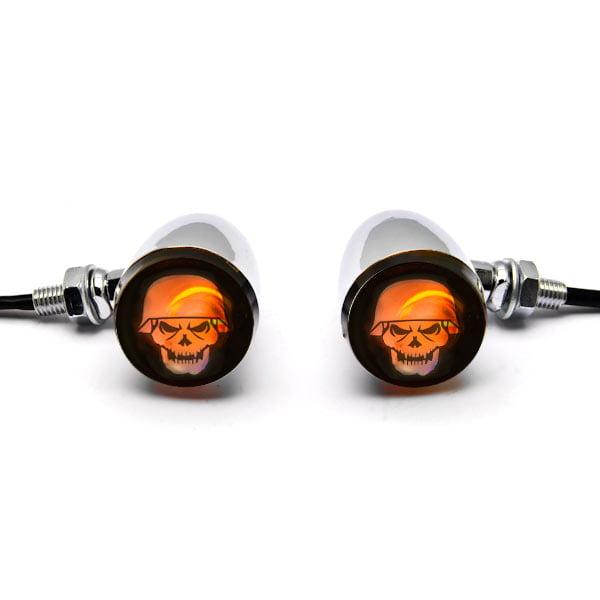 2pc Skull Lens Chrome Motorcycle Turn Signals Bulb For Harley Davidson FXB Dyna Sturgis 80 - image 4 de 6