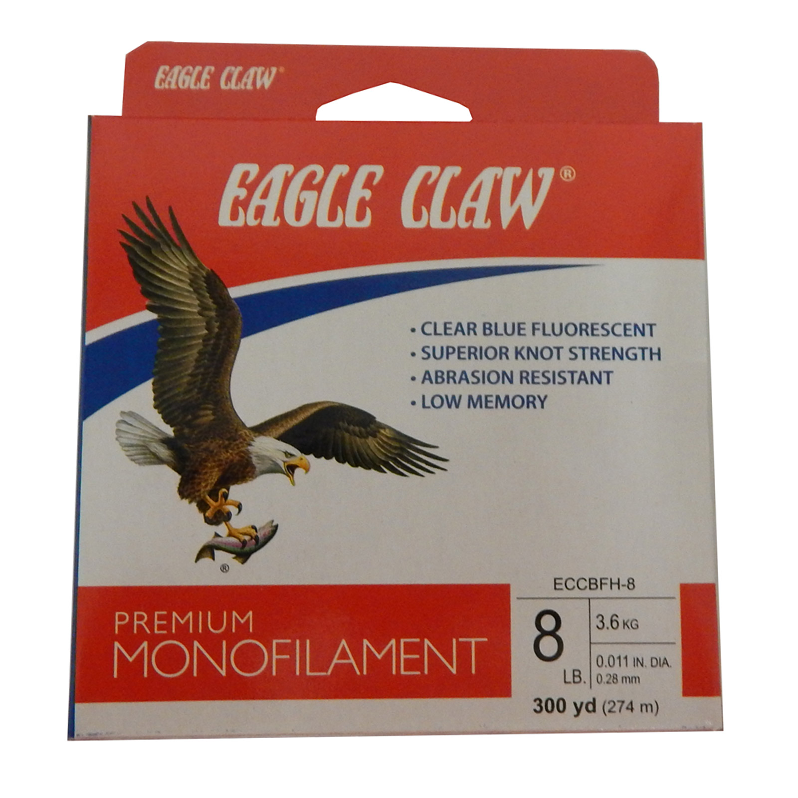 Eagle Claw Monofilamet 300 Yard Filler Spool 8 lb Test Clear Blue, ECCBFH-8