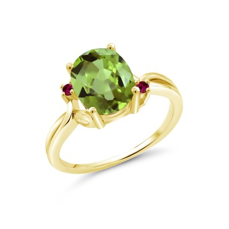 2.83 Ct Oval Green Peridot Red Created Ruby 18K Yellow Gold Plated Silver Ring