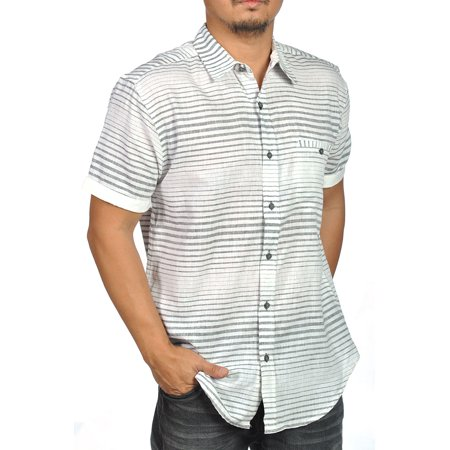 Bruno Short Sleeve Button Down Linen Striped Shirt Gray White
