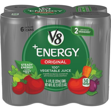 V8 +Energy, Healthy Energy Drink, Natural Energy from Tea, 100% Vegetable Juice, 8 Ounce Can (Pack of 6)