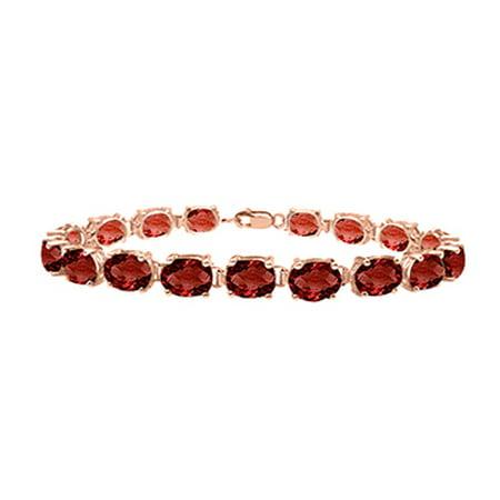 Garnet Tennis Bracelet Oval Cut in 14K Rose Gold 15 CT. TGW. 7 Inch