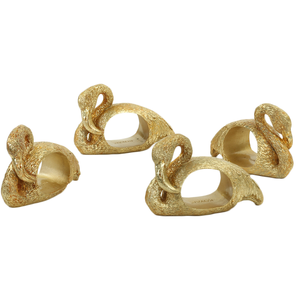 Koyal Wholesale Flamingo, Gold 4-Pack Napkin Rings for Wedding Reception, Dinner Party, Holiday Dinner