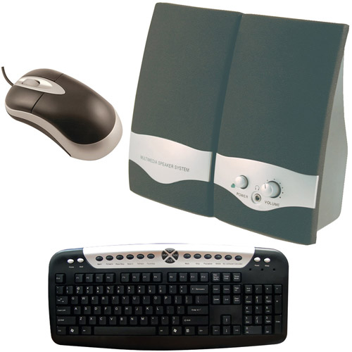 Axis Computer Starter Bundle with Multimedia Speakers, USB Keyboard and Mouse
