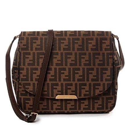d6510aa7cb8e Fendi Zucca FF Monogram Canvas Leather Shoulder Bag 8BT215 - Walmart.com
