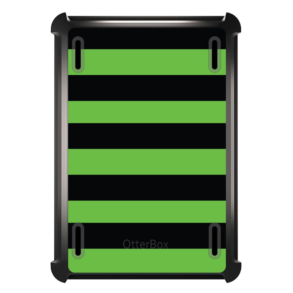 CUSTOM Black OtterBox Defender Series Case for Apple iPad Air 2 (2014 Model) - Black & Green Bold Stripes