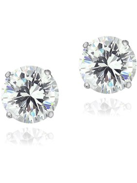 Zirconia Ice Swarovski Zirconia Sterling Silver 8mm Stud Earrings