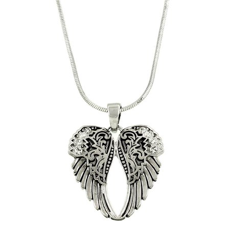 Skull Wings Pendant (Angel Wings Pendant Necklace  Rhodium High Polished J1450 )