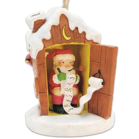 Santa in Outhouse Making His List Christmas Ornament, Measures 3 x 3.5 inches By Cape Shore