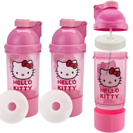 Zak! (3 Pack) Hello Kitty Kids Snack & Sip BPA Free Plastic 15oz Water Bottle Canteen, 2-In-1 Ice Pack Water Bottle](Hello Kitty Snacks)