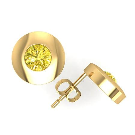 0.75Ct Round Cut Yellow Diamond Solitaire Stud Earrings 18k Yellow Gold Bezel - Si2 Diamond Solitaire Earrings