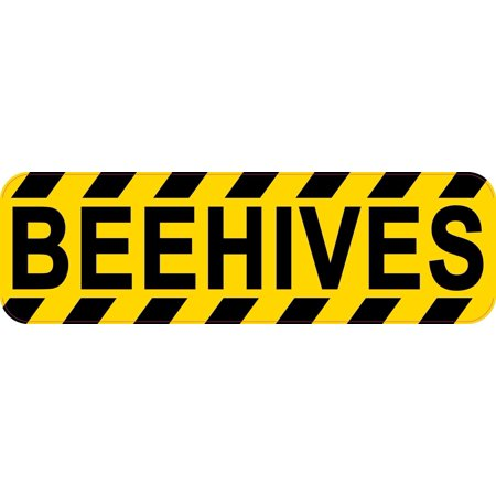 10in x 3in Caution Beehives Sticker Vinyl Beekeeping Warning Sign Decal