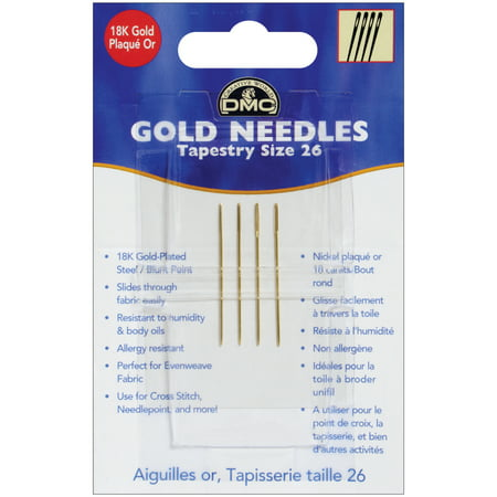 DMC Gold Tapestry Hand Needles-Size 26 4/Pkg (Dmc Tapestry Needles)