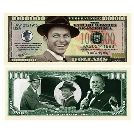 "Five Dollar Gift Card - 5 Frank Sinatra Million Dollar Bill with Bonus ""Thanks a Million"" Gift Card Set"