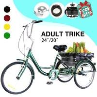 """24"""" Adult Tricycle Elegant Bike w/ Big Basket Mens Womens Cruiser Bike GREEN"""
