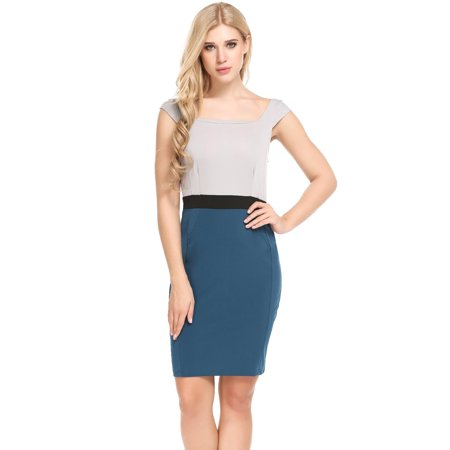 Women Casual Square Collar Patchwork Contrast Color Slim Dress RllYE
