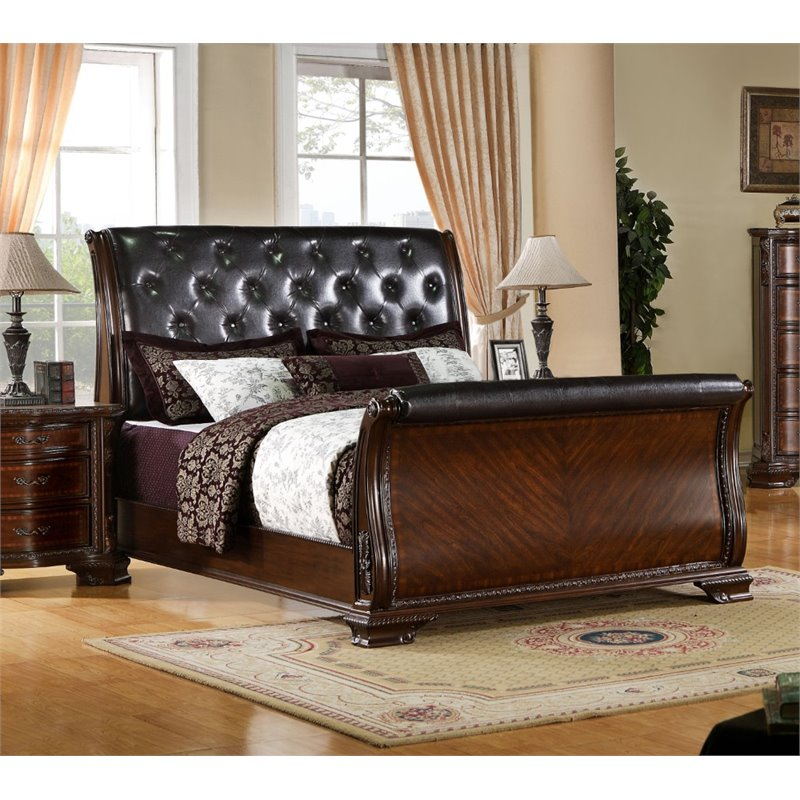 Furniture of America Cheston Queen Tufted Leather Sleigh Bed by Furniture of America