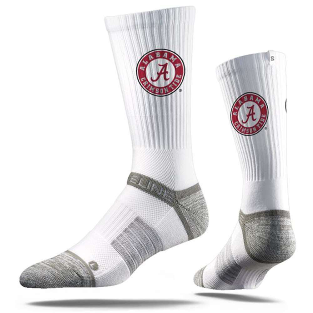 Alabama Crimson Tide Strideline Premium Crew Sock - White