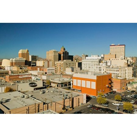 Panoramic view of skyline and downtown El Paso Texas, border town to Juarez, Mexico Print Wall
