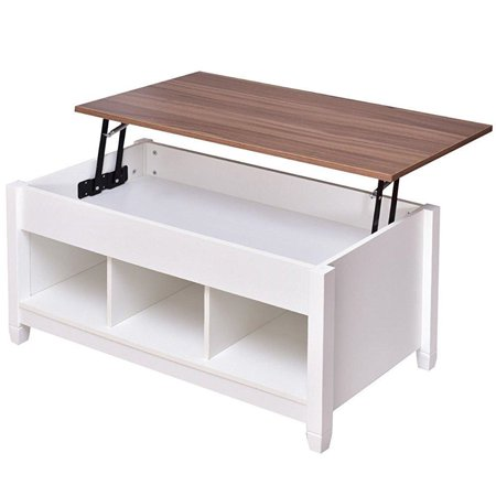 Coffee Table with Lift Top Hidden Compartment and Storage Shelves Modern Furniture ()