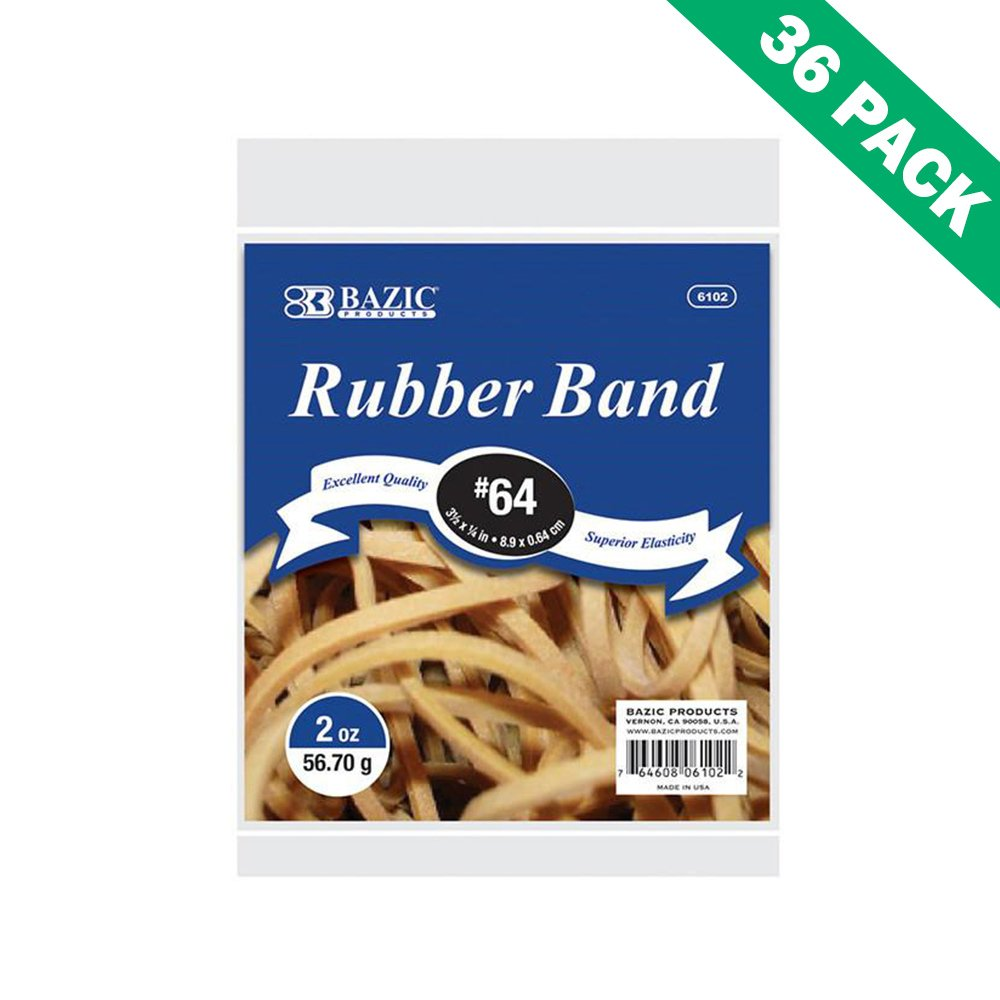 Rubber Band, Case Of Bazic Strong Rubber Bands For Office Elastic - 36 Units