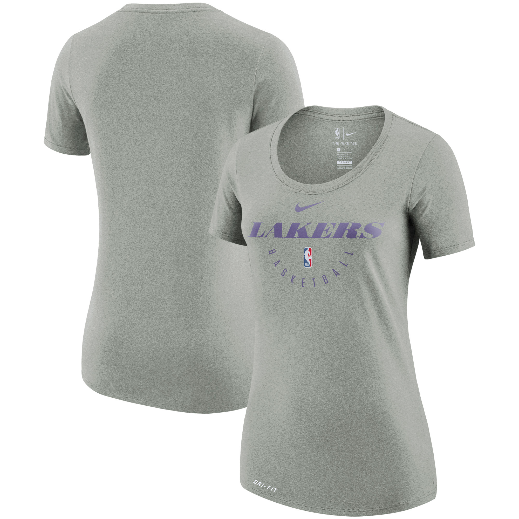 Los Angeles Lakers Nike Women's Practice Performance T-Shirt - Heathered Charcoal