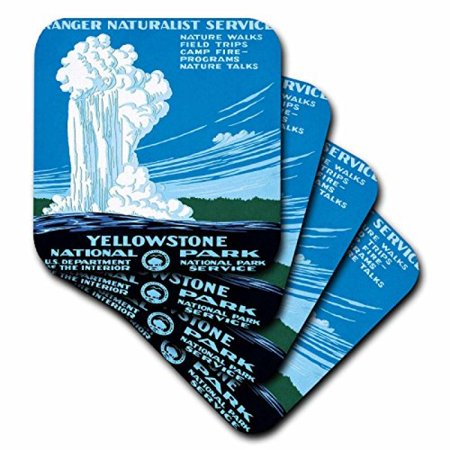 3Drose Ranger Naturalist Service Yellowstone L Park  Us Dept Of Interior  Ceramic Tile Coasters  Set Of 4
