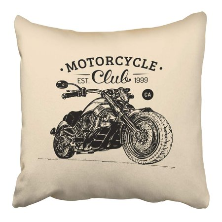 - ARHOME Motorcycle Hand Sketched for Mc Badge Detailed Bike for Custom Company Chopper Pillowcase Cushion Cover 16x16 inch