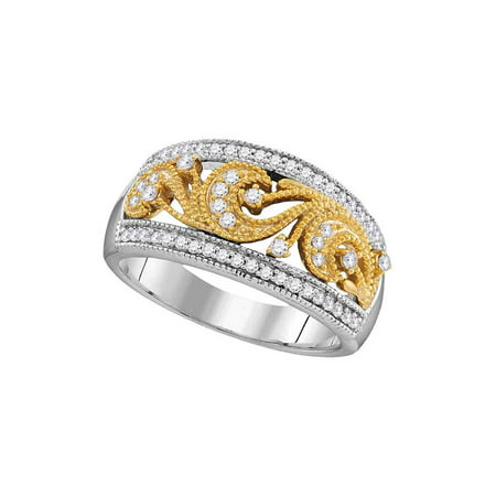 10kt Two-tone Gold Womens Round Diamond 2-tone Filigree Band Ring 1/3 Cttw - image 1 de 1