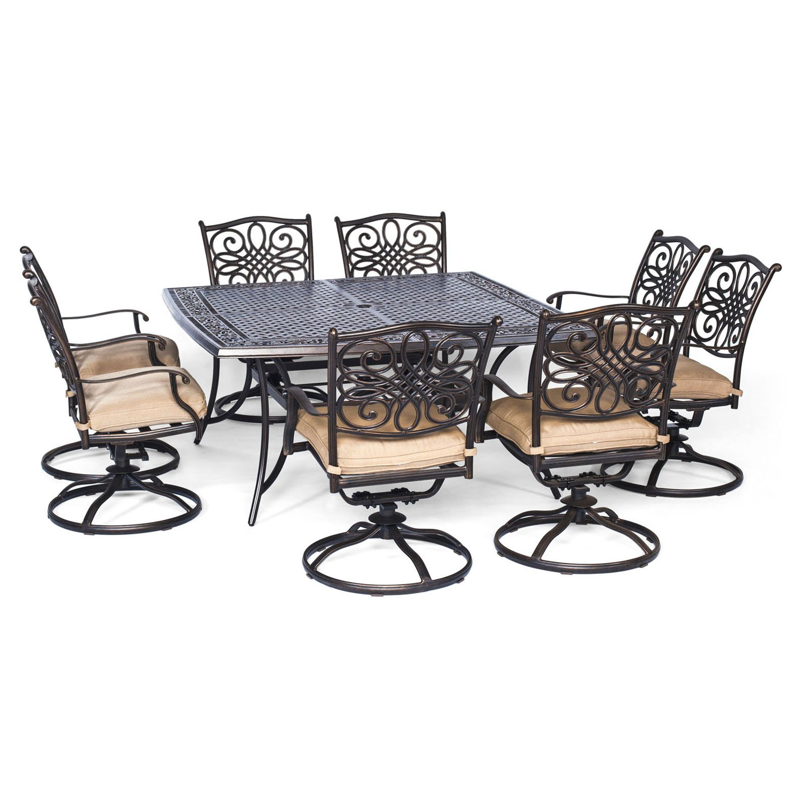 Hanover Outdoor Traditions 9-Piece Dining Set with Large Square Table and 8 Swivel Rockers, Natural Oat/Bronze