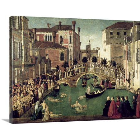 - Great BIG Canvas | Gentile (1429-1507) Bellini Premium Thick-Wrap Canvas entitled The Miracle of the Cross on San Lorenzo Bridge, 1500