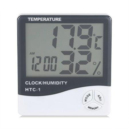 FAGINEY Indoor Thermometer Hygrometer,Digital LCD Indoor Thermometer Hygrometer Temperature Humidity Meter with Alarm Clock - image 2 of 8