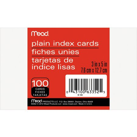 - Mead, MEA63352, 90 lb Stock Index Cards, 100 / Pack