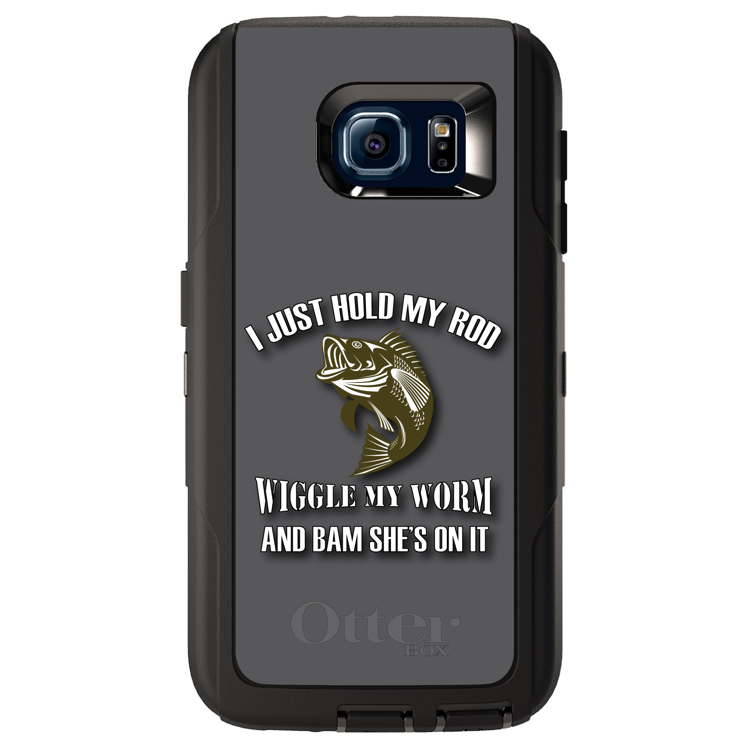 CUSTOM Black OtterBox Defender Series Case for Samsung Galaxy S6 - Fishing - Wiggle My Worm