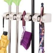 Costway Mop Holder Hanger 5 Position Home Kitchen Storage Broom Organizer Wall Mounted, White