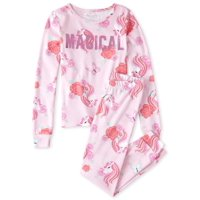 The Childrens Place 'Magical' Long Sleeve All Around Unicorn Rose Print Pajama Pant Set (Little Girls and Big Girls)