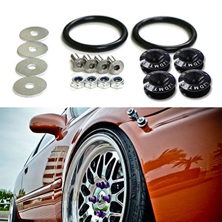 Release Finish (iJDMTOY Black Finish JDM Quick Release Fasteners For Car Bumpers Trunk Fender Hatch Lids)