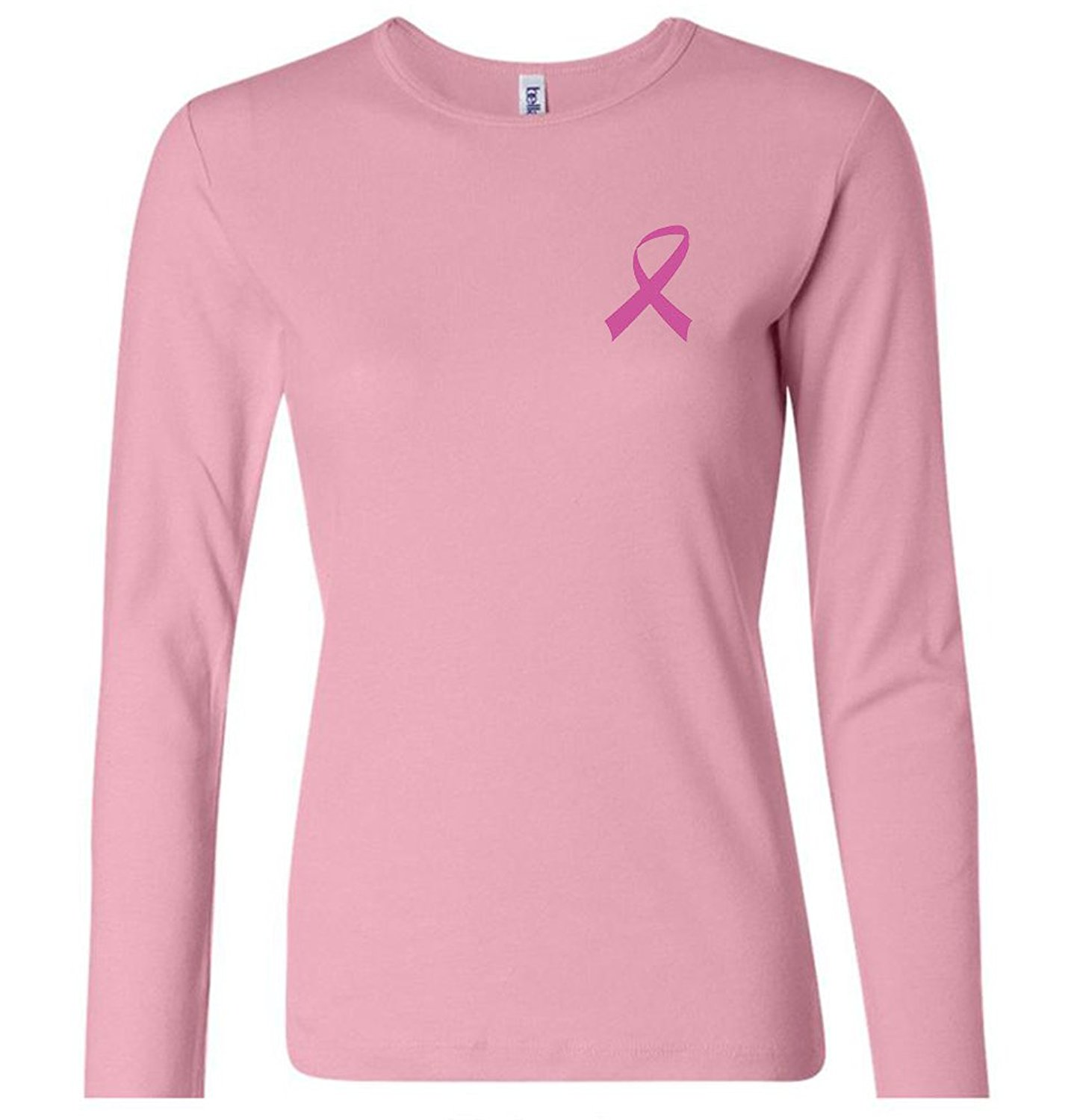 Womens Cancer Awareness Ribbon Cotton Tee - Pink