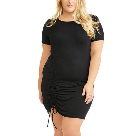 1da441411e9 No Comment - Plus Size Short Sleeve Ruched Shirttail Dress - Walmart.com