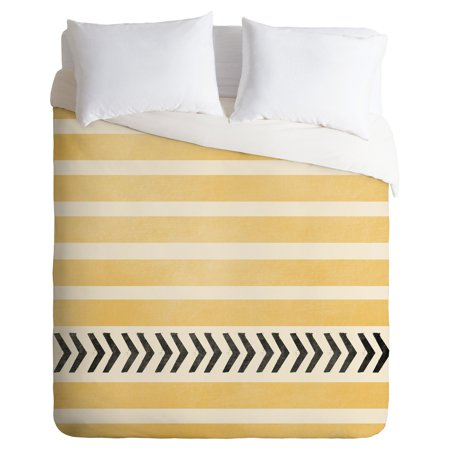 Allyson Johnson Yellow Stripes And Arrows Duvet Cover by Deny Designs