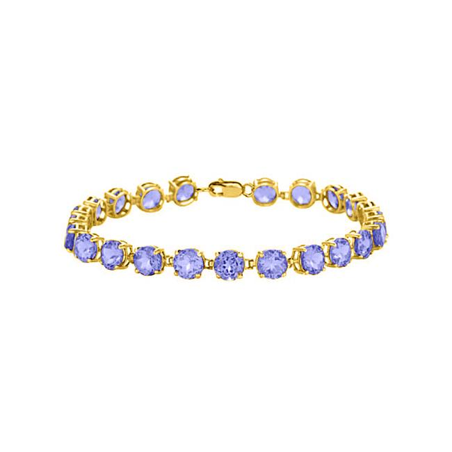 Fine Jewelry Vault UBUBR55AGVYTZ 18K Yellow Gold Vermeil Prong Set Round Tanzanite Bracelet 12 CT TGW December... by Fine Jewelry Vault
