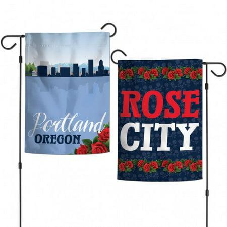 Portland Oregon Two-Sided Garden Flag Rose City 12.5
