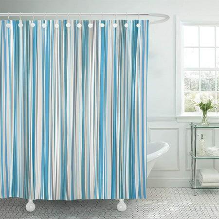 PKNMT Brown Stripe Blue Beige White Striped Pattern Tan Line Shower Curtain 60x72 Inches