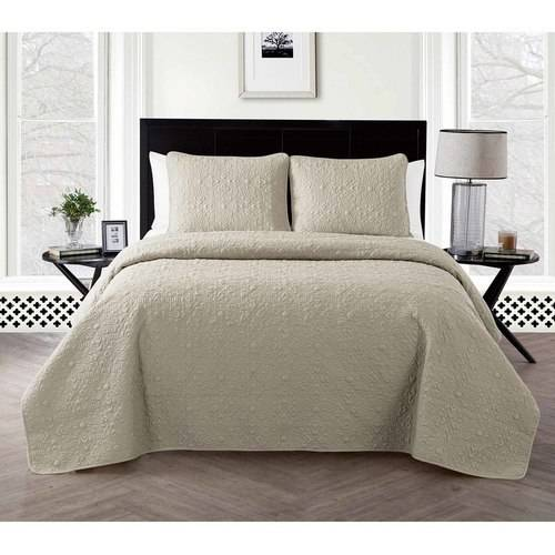 VCNY Home Caroline Geometric Flower Embossed Bedding Quilt Set, Multiple Sizes and Colors Available