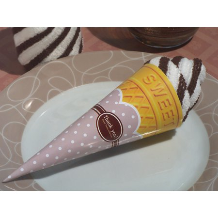 Swirl Treat - Sweet Treats Collection Chocolate swirl Ice cream cone towel favor