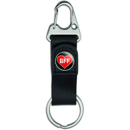 BFF, Best Friends Forever, Red Heart Belt Clip On Carabiner Leather Keychain Fabric Key