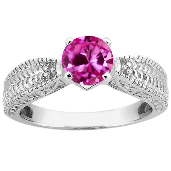 1.00 Ct Round Pink VS Created Sapphire 14K White Gold Ring by